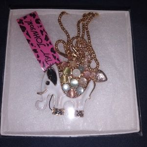 NWT Betsey Johnson Elephant Necklace